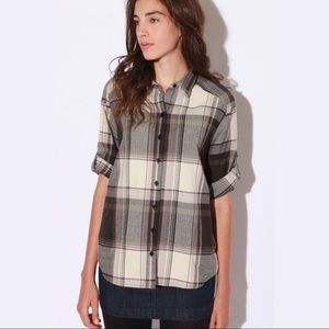 Anthro BDG Oversized Neutral Plaid Button Up Shirt